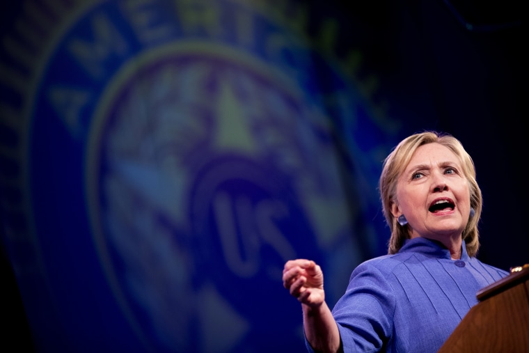 Democratic presidential candidate Hillary Clinton speaks at the American Legion's 98th Annual Convention at the Duke Energy Convention Center in Cincinnati, Ohio on Aug. 31, 2016. (Photo by Andrew Harnik/AP)