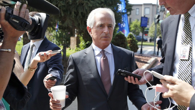 Sen. Bob Corker talks with reporters on July 7, 2016 at the National Republican Senatorial Committee headquarters in Washington, D.C. (Photo by Alex Brandon/AP)