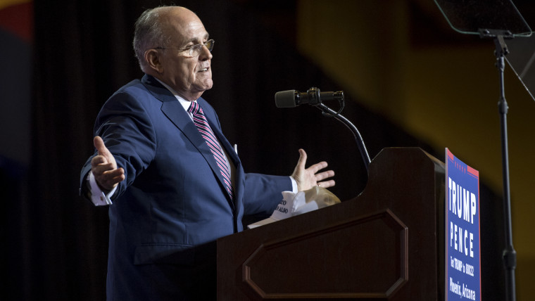 Rudy Giuliani, former mayor of New York, speaks during a campaign event for Donald Trump, 2016 Republican presidential nominee, in Phoenix, Ariz., Aug. 31, 2016. (Photo by David Paul Morris/Bloomberg/Getty)