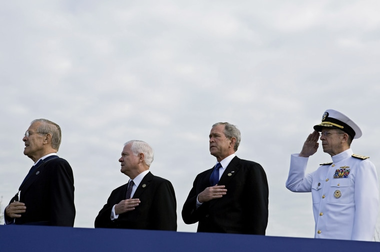 Former U.S. Secretary of Defense, Donald Rumsfeld, U.S. Secretary of Defense Robert Gates, U.S. President George W. Bush and Chairman of the Joint Chiefs of Staff Michael Mullen at the Pentagon Memorial, Sept. 11, 2008. (Photo by Joshua Roberts/Getty)