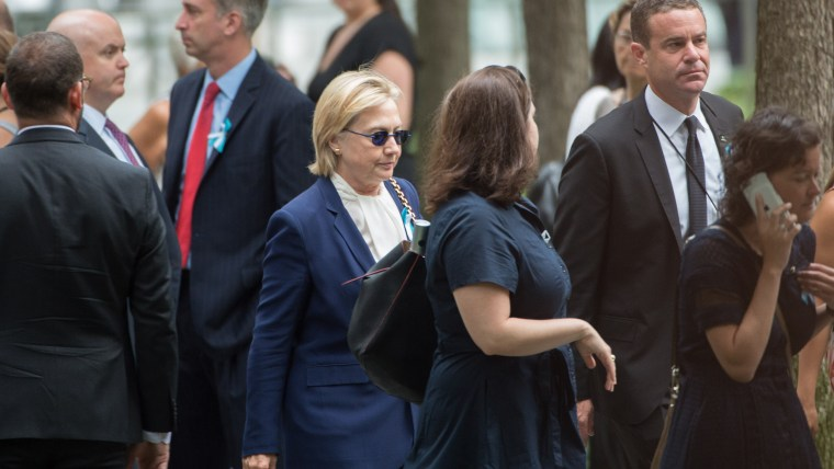 U.S. Democratic presidential candidate Hillary Clinton arrives for the 15th Anniversary of September 11 at the 9/11 Memorial and Museum, on Sept. 11, 2016 in New York. (Photo by Bryan R. Smith/AFP/Getty)
