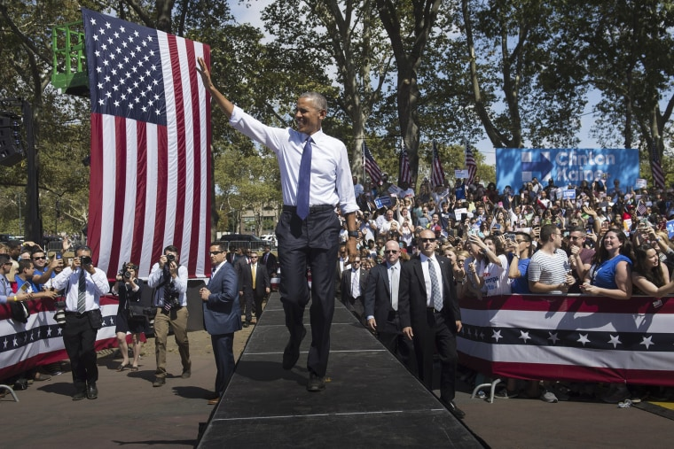 President Barack Obama arrives for a rally for Democratic presidential nominee Hillary Clinton at Eakins Oval in Philadelphia, Penn. on Sept. 13, 2016. (Photo by Saul Loeb/AFP/Getty)