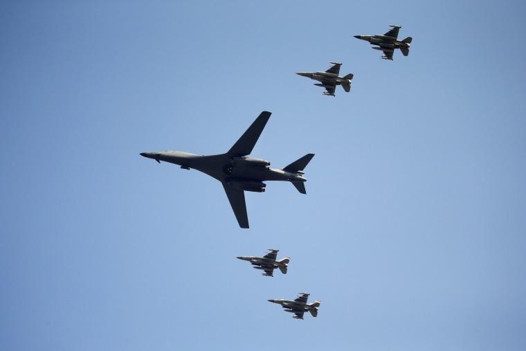 A U.S. Air Force B-1B bomber flies over Osan Air Base, Sept. 13, 2016, in Pyeongtaek, South Korea. (Photo by Kim Hong-Ji/Reuters)