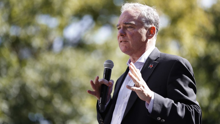 Democratic Vice Presidential candidate Sen. Tim Kaine speaks during a campaign rally at the University of Michigan in Ann Arbor, Mich. on Sept. 13, 2016. (Photo by Paul Sancya/AP)