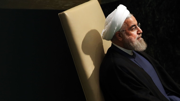 Iran President Hassan Rouhani sits before addressing the United Nations General Assembly at U.N. headquarters on Sept. 28, 2015 in New York City. (Photo by Spencer Platt/Getty)