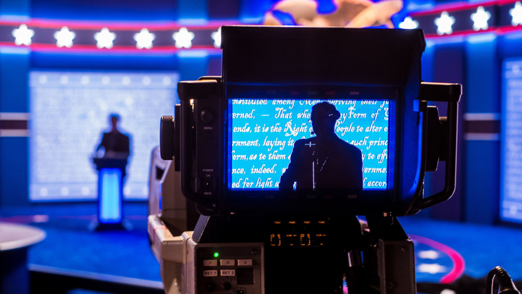 A stand-in for Republican presidential candidate Donald Trump is seen in a television camera monitor as preparations continue on Sept. 25, 2106 for the presidential debate at Hofstra University in Hempstead, N.Y. (Photo by J. David Ake/AP)