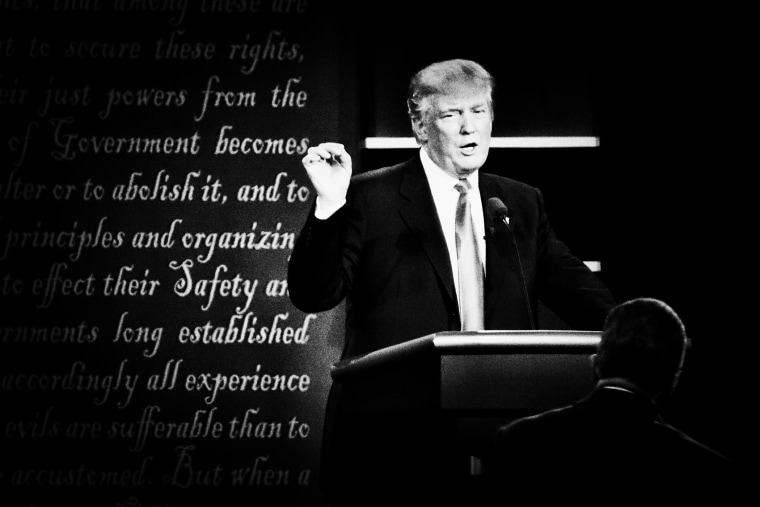 Republican presidential nominee Donald Trump speaks at the first presidential debate at Hofstra University in Hempstead, N.Y. on Sept. 26, 2016. (Photo by Mark Peterson/Redux for MSNBC)