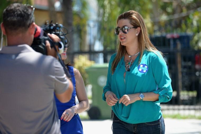 Alicia Machado campaigns for Hillary Clinton on Aug. 20, 2016 in Miami, Fla. (Photo by Gustavo Caballero/Getty)