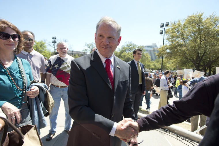 Controversial Alabama Supreme Court Chief Justice Roy Moore at a Texas Capitol rally on March 24, 2015. (Photo by Robert Daemmrich Photography Inc/Corbis/Getty)