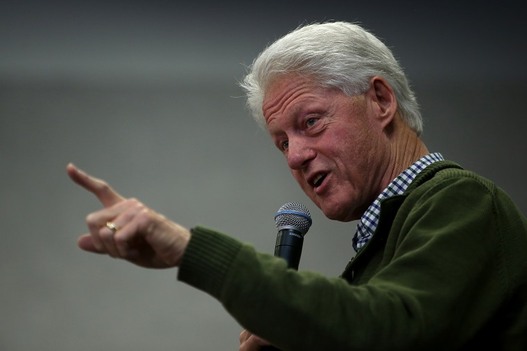 "Former U.S. president Bill Clinton speaks during a ""Get Out The Vote Clinton Family Event"" for democratic presidential candidate  Hillary Clinton at Manchester Community College on Feb. 8, 2016 in Manchester, N.H. (Photo by Justin Sullivan/Getty)"