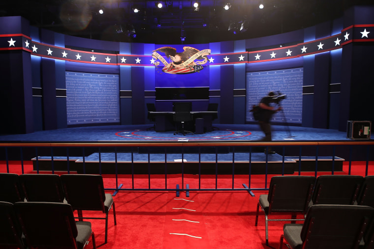 The stage is set for tonights vice presidential debate scheduled at Longwood University Oct. 4, 2016 in Farmville, Va. (Photo by Mark Wilson/Getty)