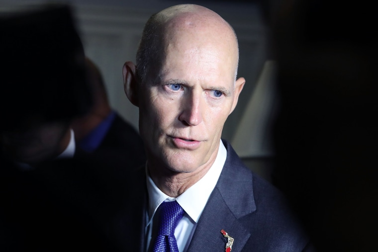 Florida Gov. Rick Scott (R), speaks to the media after a meeting with meeting with House Congressional members on Capitol Hill, Sept. 14, 2016 in Washington, D.C. (Photo by Mark Wilson/Getty)