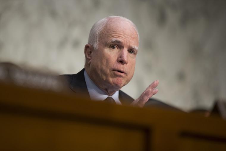 In this April 28, 2016 file photo, Sen. John McCain, R-Ariz. speaks on Capitol Hill in Washington, D.C. (Photo by Evan Vucci/AP)