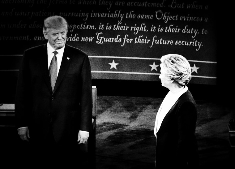 Presidential candidates Hillary Clinton and Donald Trump take the stage and begin the second presidential debate without shaking hands, Oct. 9, 2016. (Photo by Mark Peterson/Redux for MSNBC)