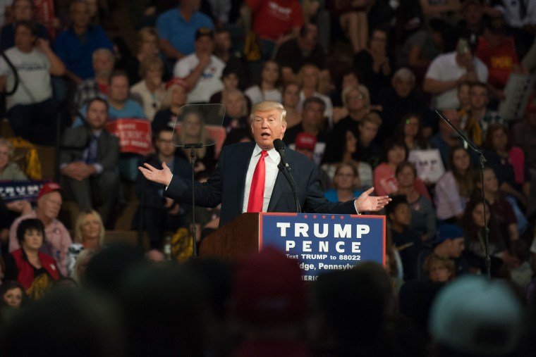 Republican candidate for President Donald J Trump speaks to supporters at a rally at Ambridge Area Senior High School on Oct. 10, 2016 in Ambridge, Pa. (Photo by Jeff Swensen/Getty)