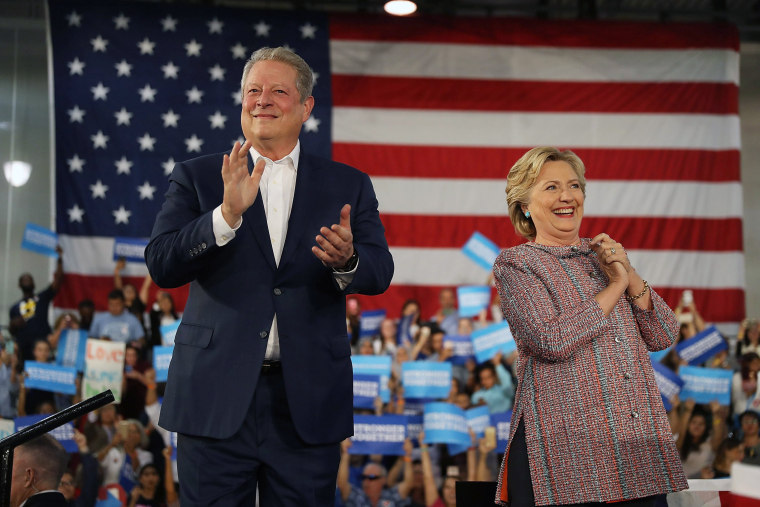 Democratic presidential nominee former Secretary of State Hillary Clinton and former Vice President Al Gore campaign together at the Miami Dade College - Kendall Campus, Theodore Gibson Center on Oct. 11, 2016 in Miami, Fla. (Photo by Joe Raedle/Getty)