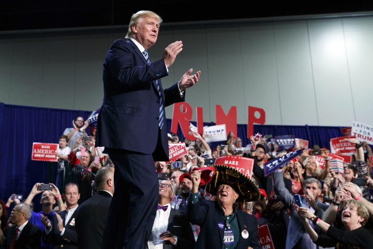 Republican presidential candidate Donald Trump arrives to speak at a campaign rally, Oct. 14, 2016, in Charlotte, N.C. (Photo by Evan Vucci/AP)