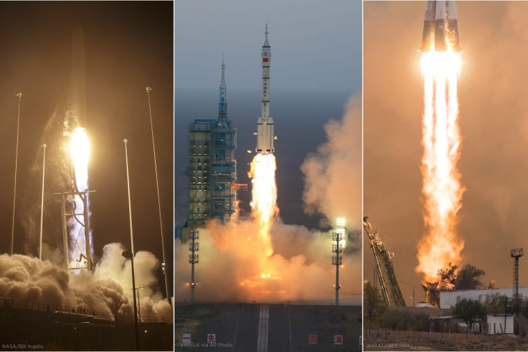 A composite image of three launches: Antares (Oct. 17, 2016), Shenzhou 11 (Oct. 17, 2016), Soyuz (Oct. 19, 2016)