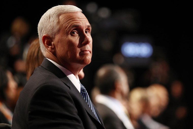 Republican vice presidential nominee Mike Pence waits for the start of the third U.S. presidential debate at the Thomas & Mack Center on Oct. 19, 2016 in Las Vegas, Nev. (Photo by Win McNamee/Getty)