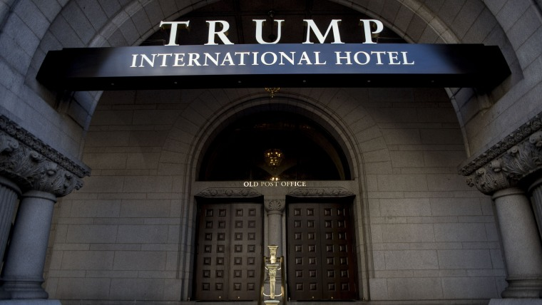 An exterior view of the entrance to the new Trump International Hotel at the old post office on Oct. 26, 2016 in Washington, D.C. (Photo by Gabriella Demczuk/Getty)
