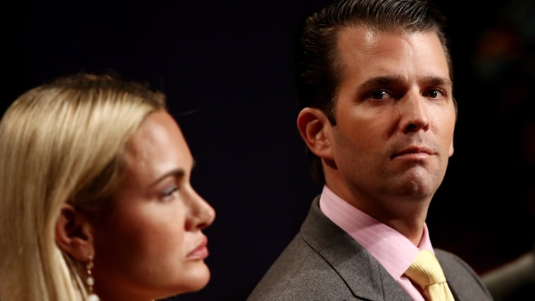 Donald Trump Jr. and his wife Vanessa Trump wait for the start of the third U.S. presidential debate at the Thomas & Mack Center on Oct. 19, 2016 in Las Vegas, Nev. (Photo by Win McNamee/Getty)