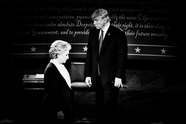 Presidential candidates Hillary Clinton and Donald Trump at the second presidential debate, Oct. 9, 2016.