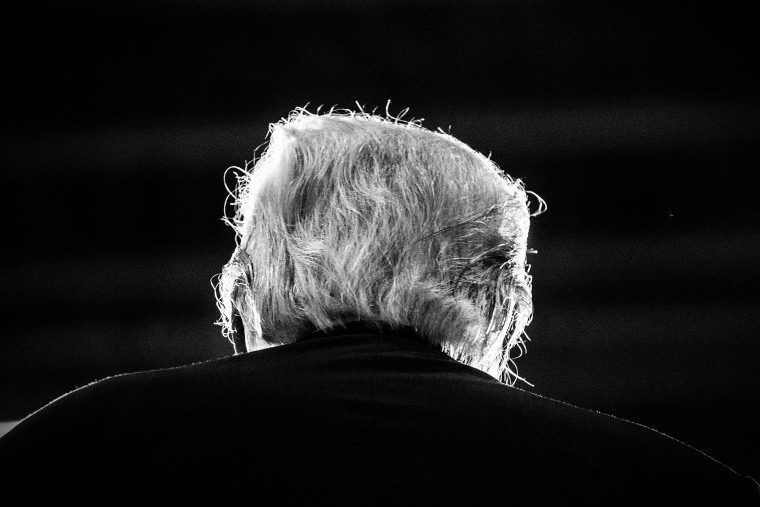 The back of Donald Trump is pictured in Rochester, N.H., Sept. 17, 2015.