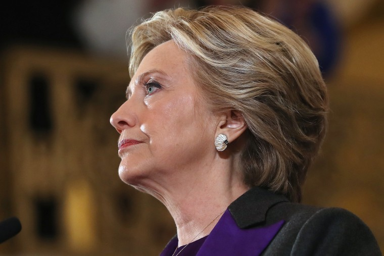 Former Secretary of State Hillary Clinton concedes the presidential election at the New Yorker Hotel on Nov. 9, 2016 in New York City. (Photo by Justin Sullivan/Getty)