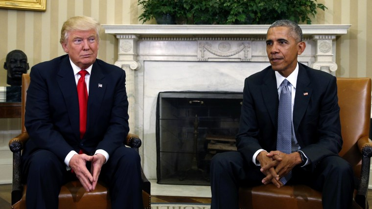 U.S. President Barack Obama meets with President-elect Donald Trump to discuss transition plans in the White House Oval Office in Washington, Nov. 10, 2016. (Photo by Kevin Lamarque/Reuters)