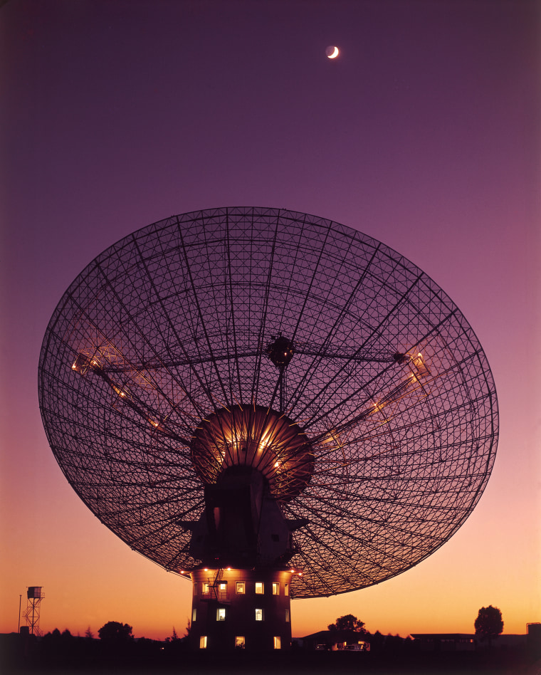 CSIRO's Parkes radio telescope as it was around the time of the first manned Moon landing in 1969.