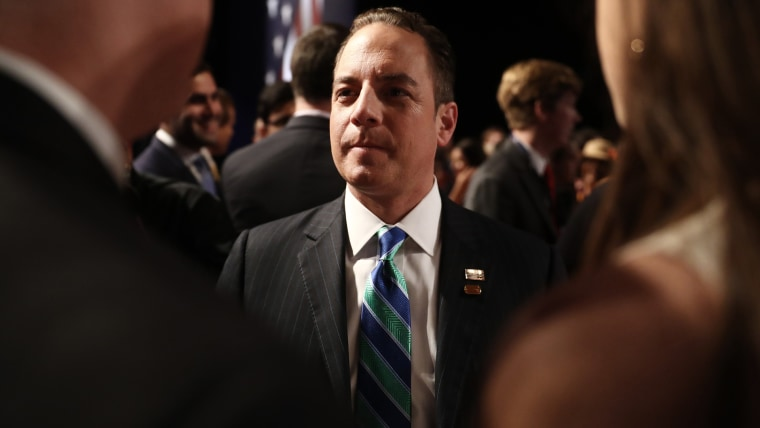 Reince Priebus, chairman of the Republican National Committee, speaks to attendees ahead of the vice presidential debate at Longwood University in Farmville, Va., on Oct. 4, 2016. (Photo by Andrew Harrer/Bloomberg/Getty)