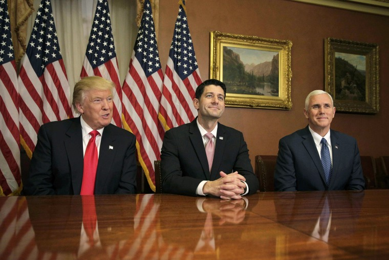 U.S. President-elect Donald Trump (L) meets with Speaker of the House Paul Ryan (R-WI) (C) and Vice-President elect Mike Pence on Capitol Hill in Washington, D.C., on Nov. 10, 2016. (Photo by Joshua Roberts/Reuters)