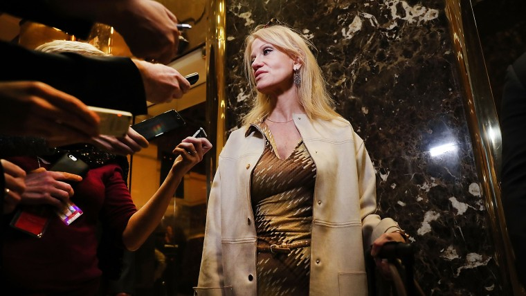 Donald Trump's campaign manager Kellyanne Conway speaks to the media while entering Trump Tower on Nov. 14, 2016 in New York, N.Y. (Photo by Spencer Platt/Getty)