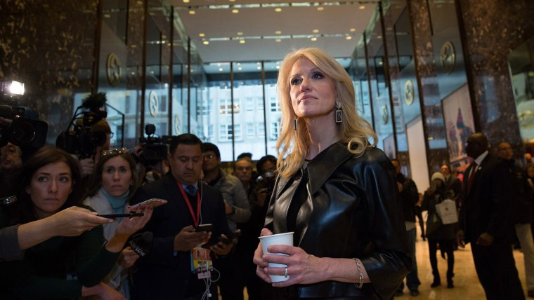 Kellyanne Conway, a senior advisor to President-Elect Donald Trump, takes questions from the media at Trump Tower on Nov. 21, 2016 in New York, N.Y. (Photo by Kevin Hagen/Getty)