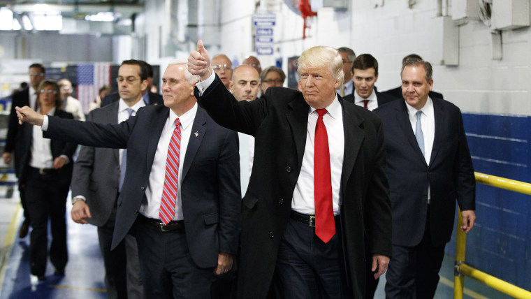 President-elect Donald Trump and Vice President-elect Mike Pence wave as they visit to Carrier factory, Dec. 1, 2016, in Indianapolis, Ind. (Photo by Evan Vucci/AP)