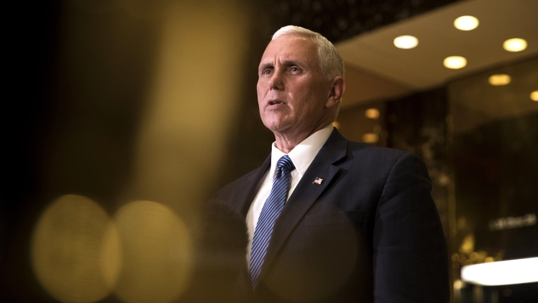 Vice President-elect Mike Pence speaks to reporters at Trump Tower, Nov. 29, 2016 in New York, N.Y. (Photo by Drew Angerer/Getty)