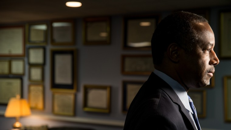 Republican presidential candidate Dr. Ben Carson poses for a photograph before speaking with The Associated Press in his home in Upperco, Md., Dec. 23, 2015. (Photo by Andrew Harnik/AP)