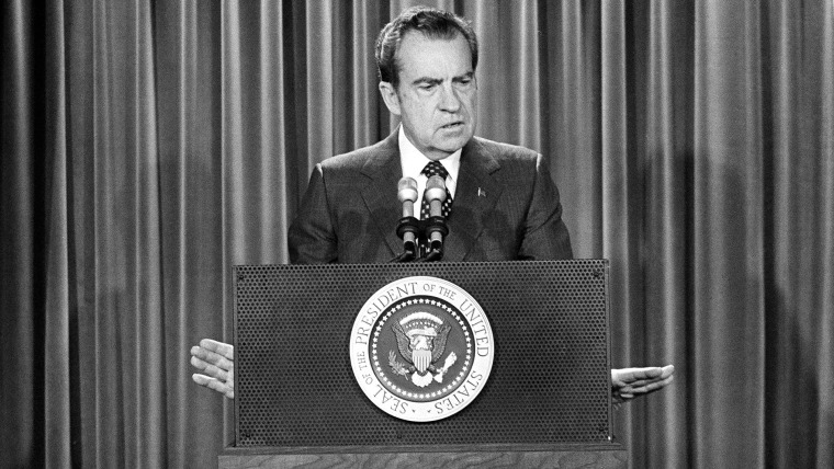 In this Jan. 31, 1973, file photo, President Richard Nixon speaks at a White House news conference in Washington, D.C. (Photo by AP)