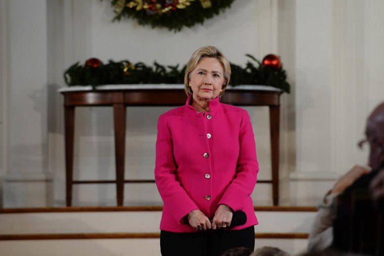 Democratic Presidential candidate Hillary Clinton listens to a question at South Church Dec. 29, 2015 in Portsmouth, N.H. (Photo by Darren McCollester/Getty)