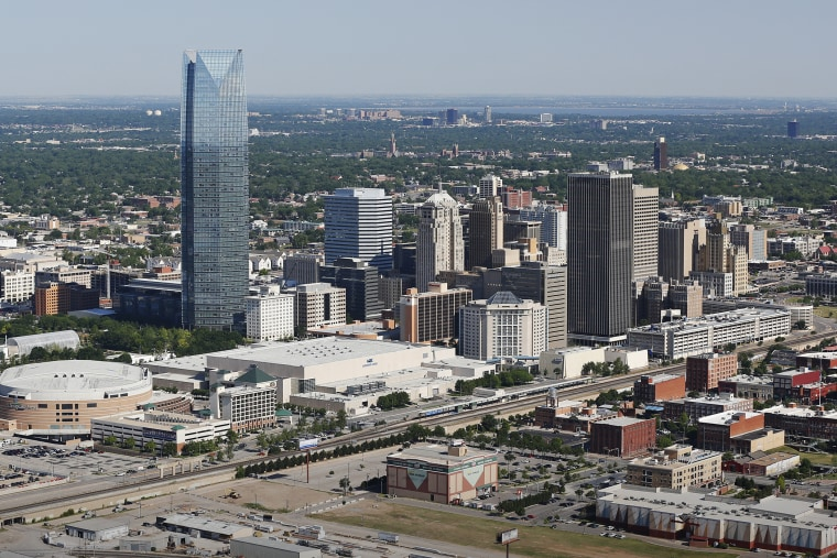 The Oklahoma City skyline is pictured in an aerial photo, May 15, 2014. (Photo by Sue Ogrocki/AP)