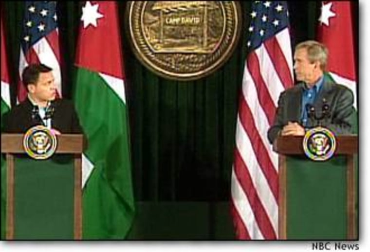 At meeting with Jordan's king, president says Arafat thwarted terror crackdown