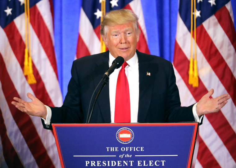 Image: *** BESTPIX *** President-Elect Donald Trump Holds Press Conference In New York