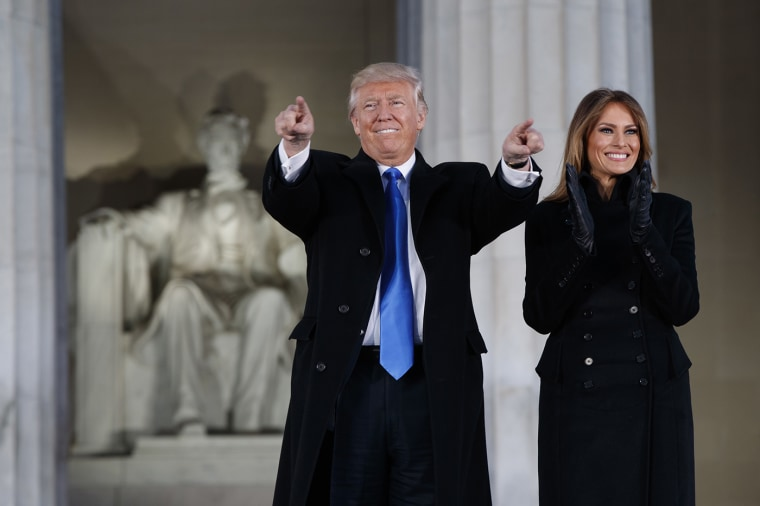 """President-elect Donald Trump and his wife Melania Trump arrive to the \""""Make America Great Again Welcome Concert\"""" at the Lincoln Memorial, Jan. 19, 2017, in Washington. (Photo by Evan Vucci/AP)"""