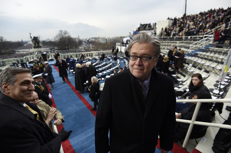 Steve Bannon, appointed chief strategist and senior counselor to President-elect Donald Trump, arrives for the Presidential Inauguration of Trump at the U.S. Capitol on Jan. 20, 2017 in Washington, DC. (Photo by Saul Loeb/Getty Images)