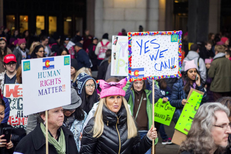 Demonstrators arrive at Union Station for the Women's March on Washington on Jan. 21, 2017, in Washington, DC.