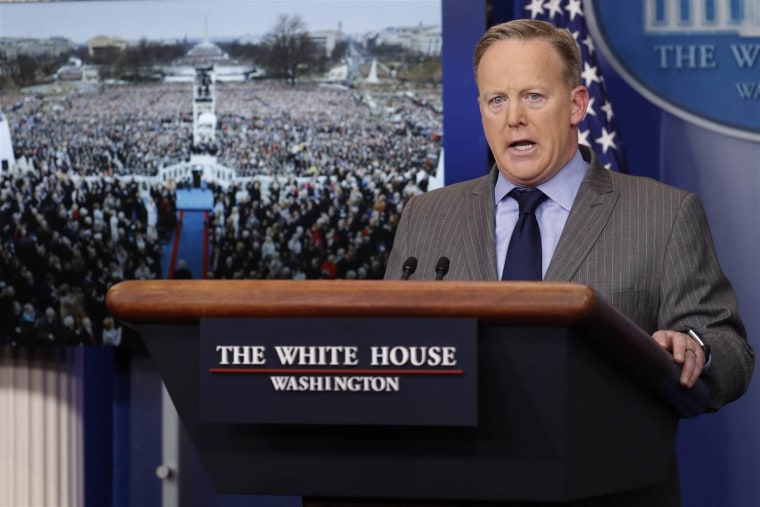 White House press secretary Sean Spicer delivers his first statement in the Brady press briefing room at the White House in Washington, D.C. on Jan. 21, 2017.