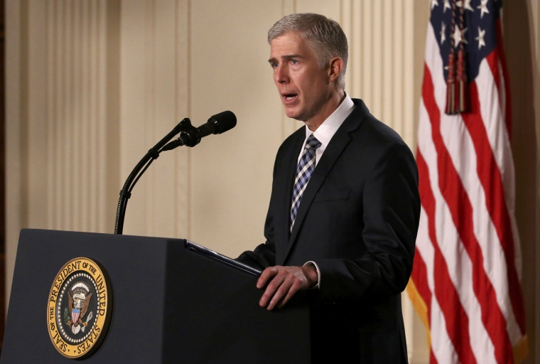 Image: Neil Gorsuch speaks after U.S. President Donald Trump announces his nomination of Gorsuch to be an associate justice of the U.S. Supreme Court at the White House in Washington