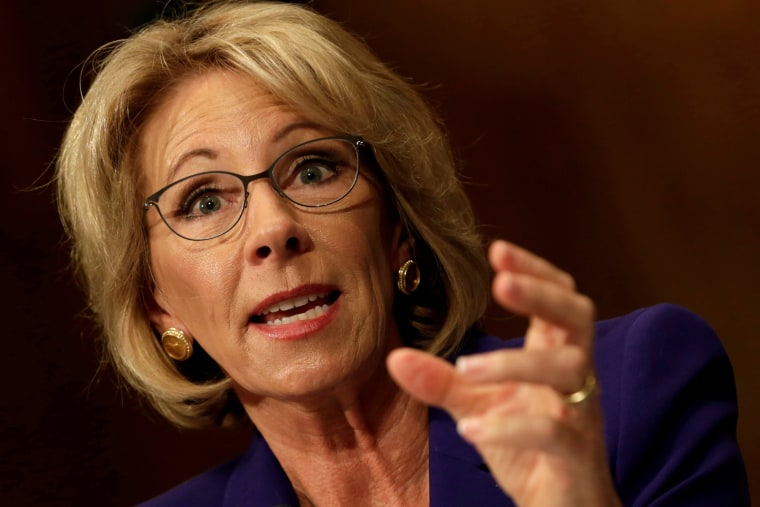 Image: File Photo: Betsy DeVos testifies before the Senate Health, Education and Labor Committee confirmation hearing