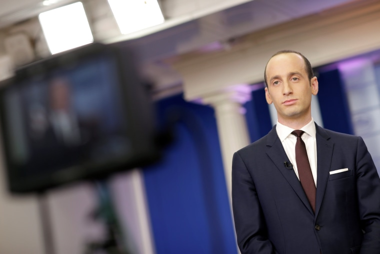 Image: Senior White House Advisor Stephen Miller waits to go on the air in the White House Briefing Room in Washington