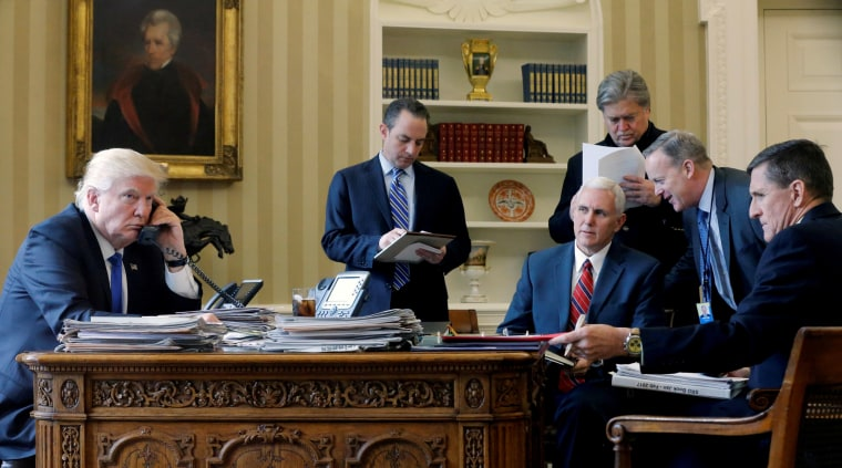 Image: FILE PHOTO: Trump speaking by phone with Putin in the Oval Office at the White House in Washington